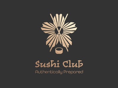 Sushi Club Logo vector illustration typography branding logodesign design graphic design golden cherry blossoms cherry blossom sakura sushi bar sushi logo