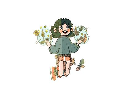Autum magic character desigh design cartoon illustration cartoon stars autumn leaves green art drawing squirrel magic autumn illustration