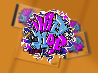HIPHOP TYPO typography design vector illustration hiphop