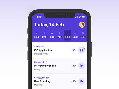 iOS Time Tracker interface design ux application ios ui app