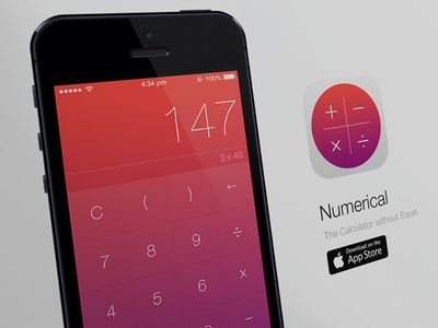 Numerical - The Calculator without Equal ios app website psd design icon iphone apple calculator mockup