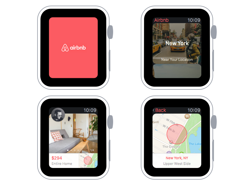 Airbnb for Apple Watch lowprofile extension watch freebie sketch app apple watch airbnb