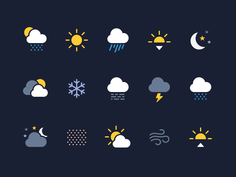 Weather Icons (Made with Figma) app ux ui vector sun cloud rain solid weather weather icons ios