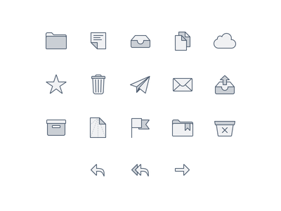 📬 Email Client Icons (Made with Figma) lowprofile figma web folder mail icon macos client line icons ux ui