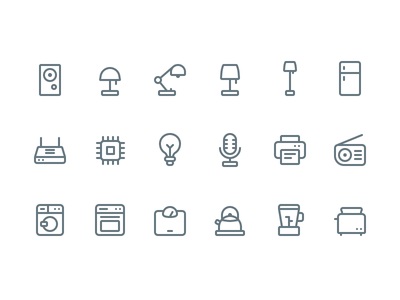 🏡 Appliance Icons (Made in @figmadesign) lowprofile iconography ux ui lamp speaker router printer icons appliance home figma
