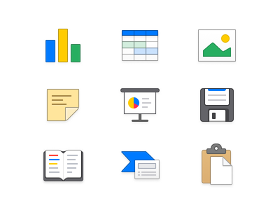 Slideshow Icons (Made with Figma) lowprofile mac app icon iconography ux slides presentation graph mac app icons ui