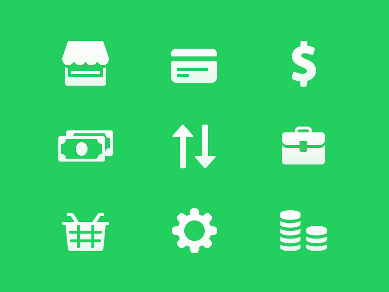 Money icons green