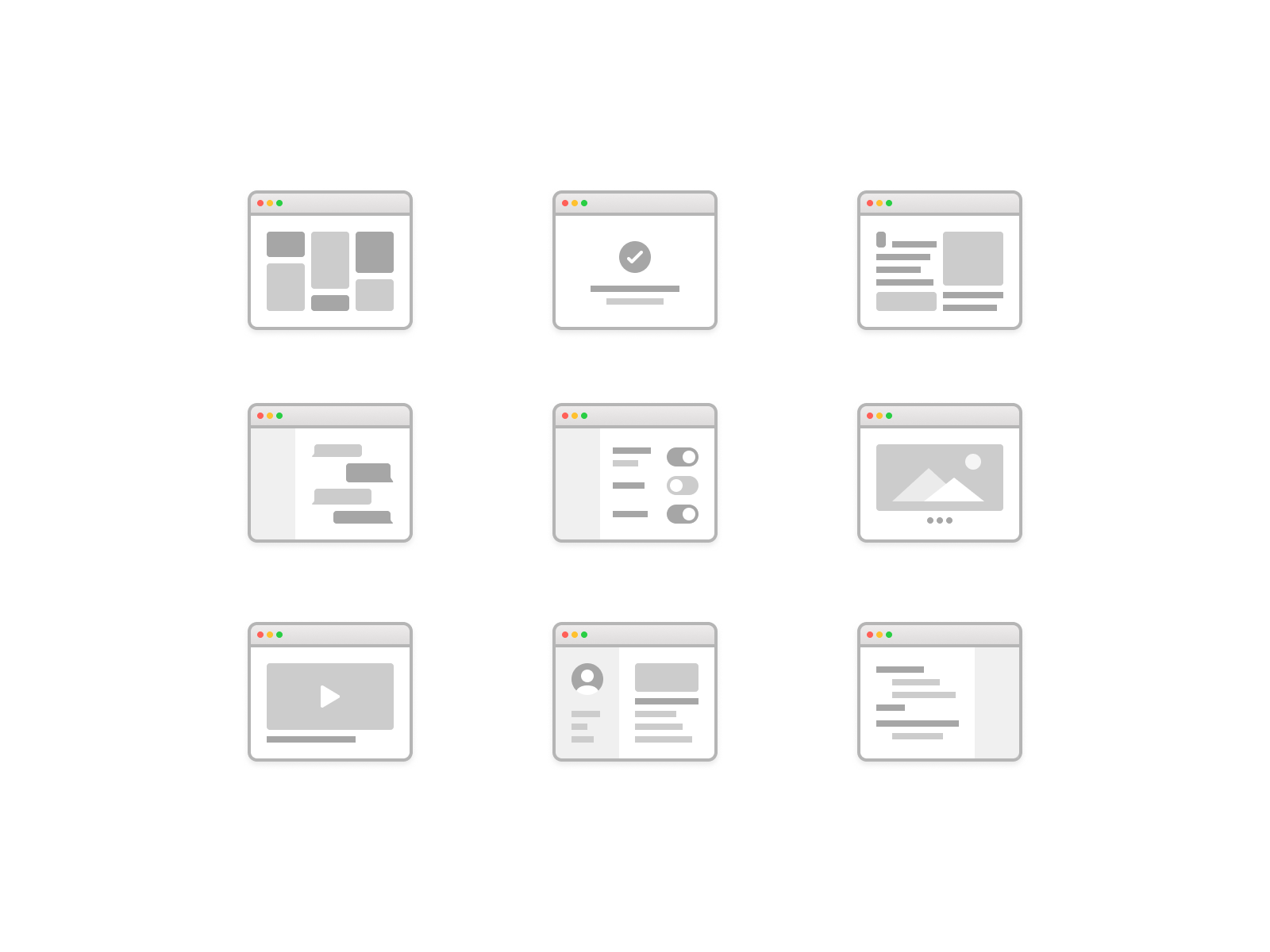 Wireframe layouts