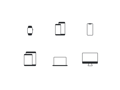 Device Icons ⌚️📱💻🖥 lowprofile ipad imac macbook pro iphone iphone x watch device iconography ui figma icons