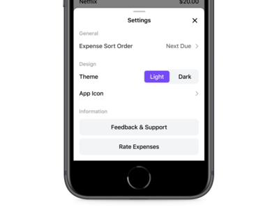 Expenses 💰💸📱 - Settings Interface settings page free app sale free settings icon icons design ios app ux ui