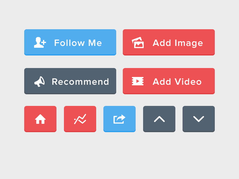 Flat UI Buttons (PSD Included) freebie free psd ui buttons flat share home up down follow image video