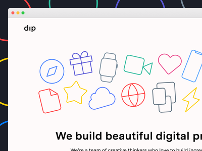 Dip Website Teaser studio agency design brand icons website web