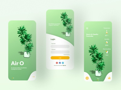 Air O indoor pollution ux minimal vector app design plant environment ui uiux