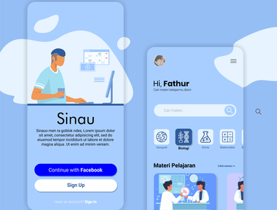 Sinau Mobile App Interface