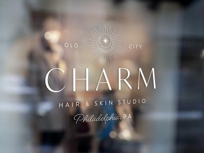 Charm Hair & Skin Studio vector wellness beauty hair salon monoline minimal logo icon typography branding design