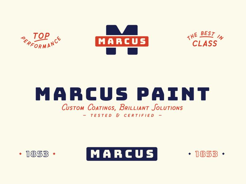 Marcus Paint Concept brand identity badges badge vintage logo retro logo retro heritage americana paint vintage logos logo design lockup logo philadelphia louisville designer design graphic design branding