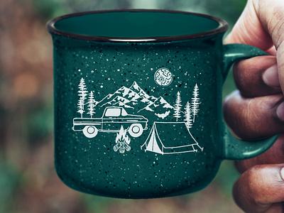 Winter Camping Mug for Foxhollow Farm wilderness mug design illustration art merch winter camping mug enamel illustration louisville graphic graphic design designer design