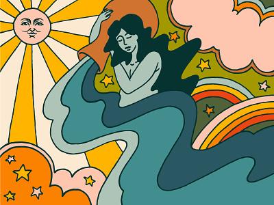 Aquarius Season Illustration vintage colorful art zodiac horoscopes astrology aquarius illustration art illustrator retro illustration louisville graphic graphic design designer design