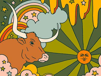 Taurus Season Illustration astrology illustrator illustration art retro illustration louisville graphic graphic design designer design