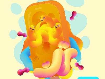 Sweet 'n' Sour fluid illustration fluid worms vector art illustration worms pop ice popsicles popsicle diary frozen dessert dessert freezy food sour sweet sweet and sour ice pop pop icecream ice