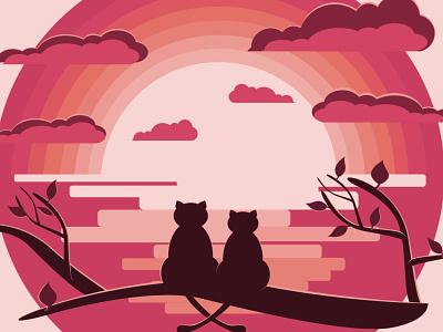 Love Cats trees sea clouds animal illustration eligo design eligodesign eligo romance sunset animals cats vector art affinity designer illustration