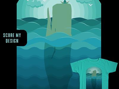 Playful Whale paper boat sea landscape clouds humpback whale sea gulls gulls sea ocean waves ocean waterwaves water design challenge tshirt design tshirt eligo eligodesign affinity designer vector art illustration