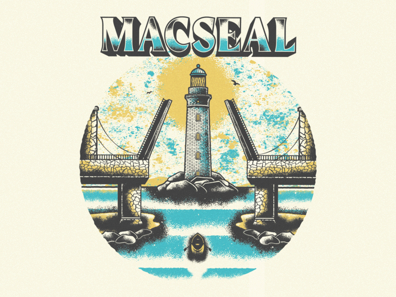 Macseal - Lighthouse texture grunge stippling vector lighthouse merch band macseal