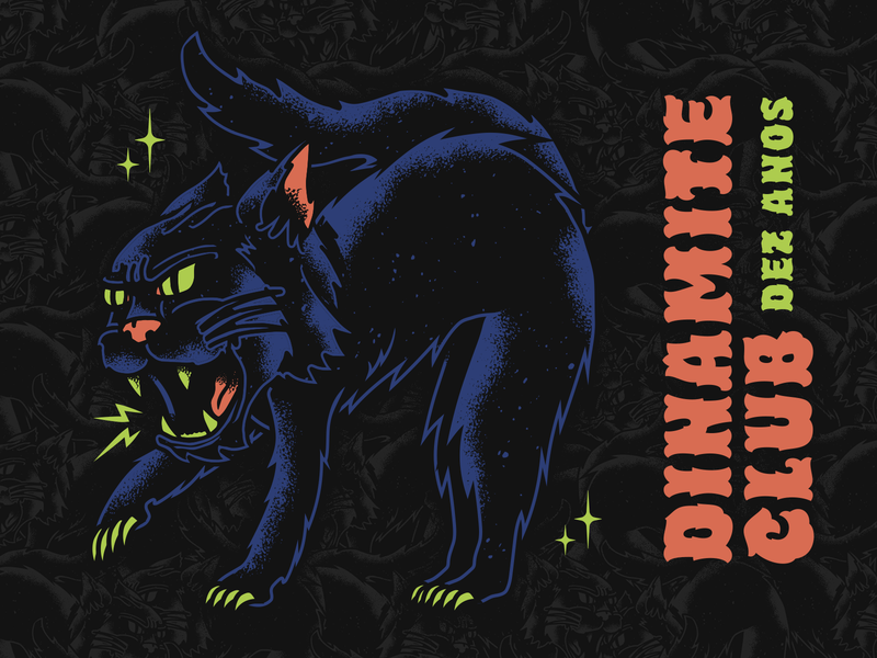 Dinamite Club lucky band pop punk merch vector stippling tattoo black cat