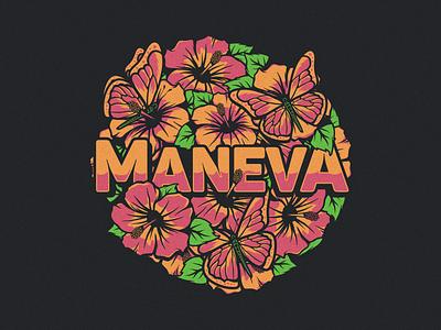 Maneva hibiscus flower music reggae apparel merch vector band merch band maneva
