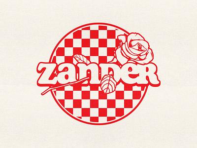 Zander - Checkerboard Rose badge logo illustrator band apparel merch vector