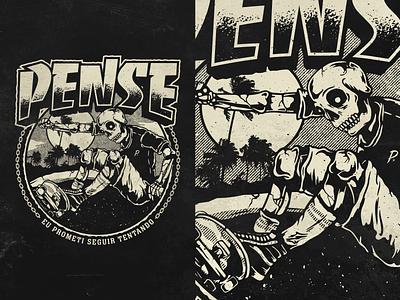 Pense t-shirt illustrator skateboard illustration band apparel vector trasher merch hardcore pense