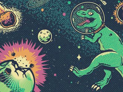 Space Dino illustration pop punk illustrator colorful vector explosion universe space dinosaurs