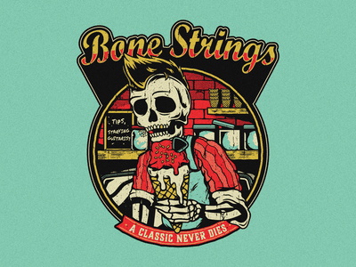Bone Strings vintage ice cream vector guitar string skull