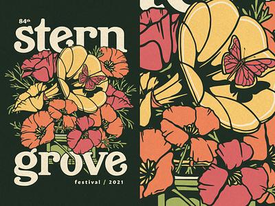 Stern Grove Festival butterfly vinyl gramophone merch vector california flowers festival san francisco