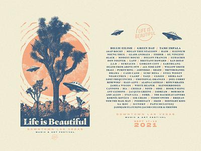 Life is Beautiful 2021 downtown las vegas illustrator edm tame impala green day billie eilish festival ufo design illustration apparel merch vector