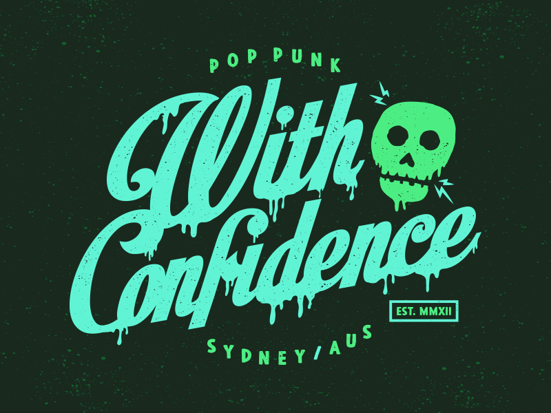 With Confidence Skull electric drip skull t-shirt apparel merch pop punk grunge with confidence
