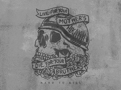 Hard To Kill - Live & Die merch vector flower rose t-shirt brand gym skull apparel soldier banner die