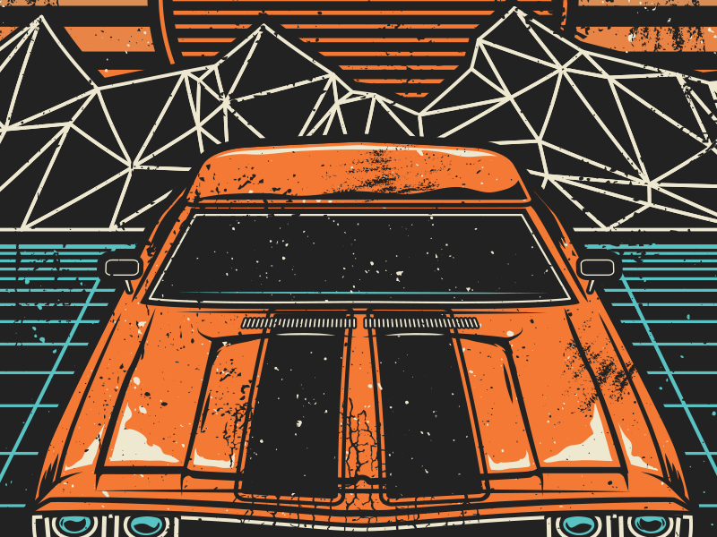 Retro 70s 80s geometric car vintage retro