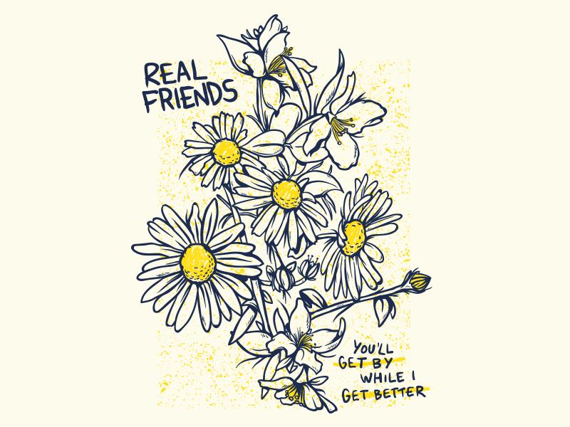 Real Friends - Get By music t-shirt merchandise apparel merch pop punk flowers band real friends