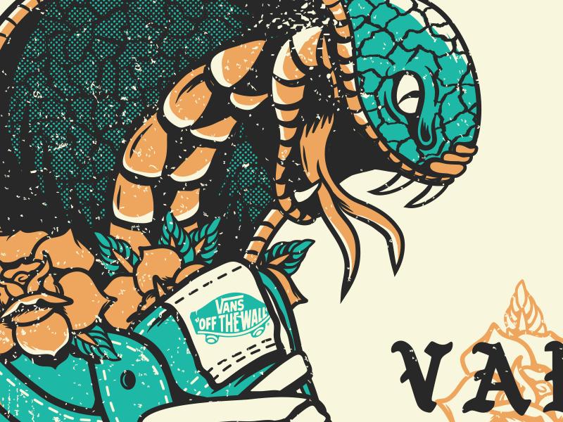 Vans - Snake flower hisk8 sneaker traditional tattoo skateboard snake vans