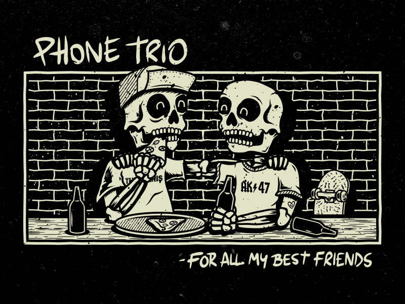 Phone Trio - Best Friends pizza skull phone trio band pop punk merch apparel