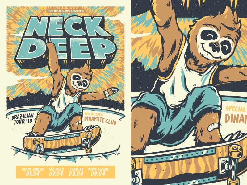 Neck Deep - Brazilian Tour '18 screeprint lsd sloath skate skateboard poster gig pop punk neck deep
