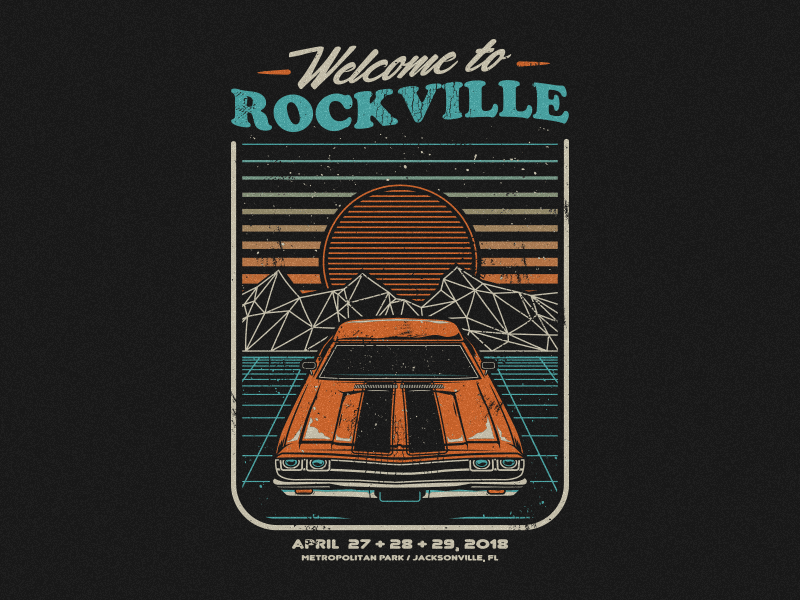 Welcome to Rockville 2018 foo fighters merch band vector retro festival welcome to rockville
