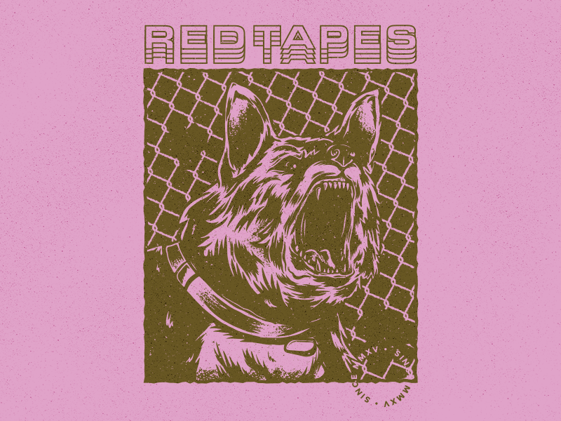 Red Tapes music apparel vintage illustrator procreate dog band merch
