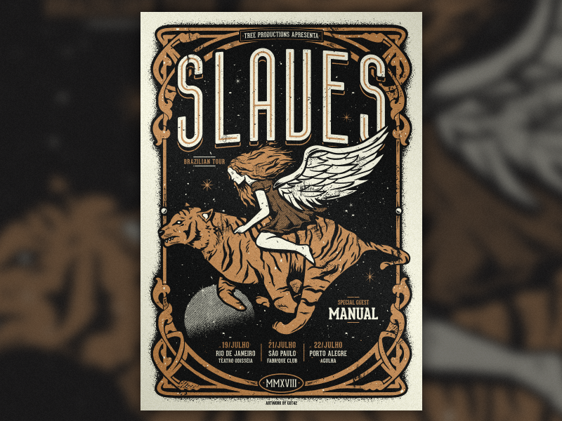 Slaves - Brazilian Tour '18 angel tiger vector screenprint poster jonny craig slaves