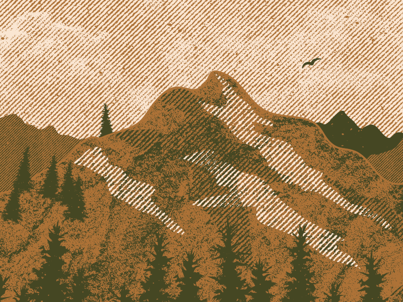 Mountains nature illustrator halftone vector mountains