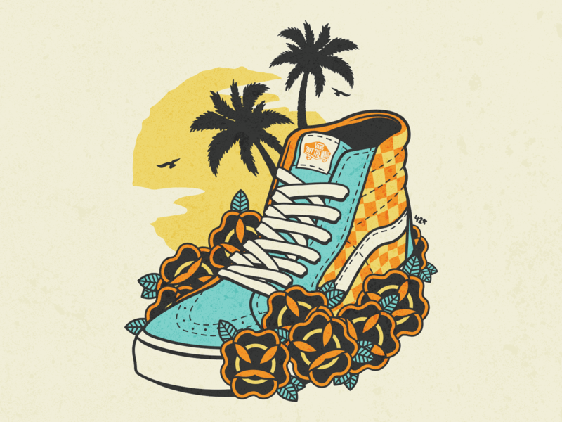 Vans Off the Wall shoes skateboard illustrator illustration summer wall painting off the wall vans