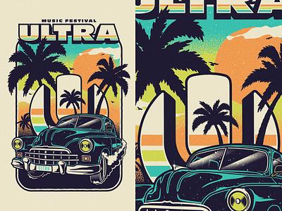 Ultra Music Festival 19 merchandise apparel miami print car vintage festival music ultra umf19