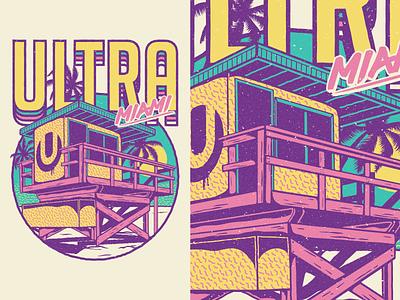Ultra Music Festival 19 vector vintage pattern miami edm festival music ultra