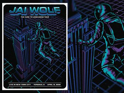 Jai Wolf - New York City concert music astronaut grid empire state building retro design new york silkscreen poster jai wolf